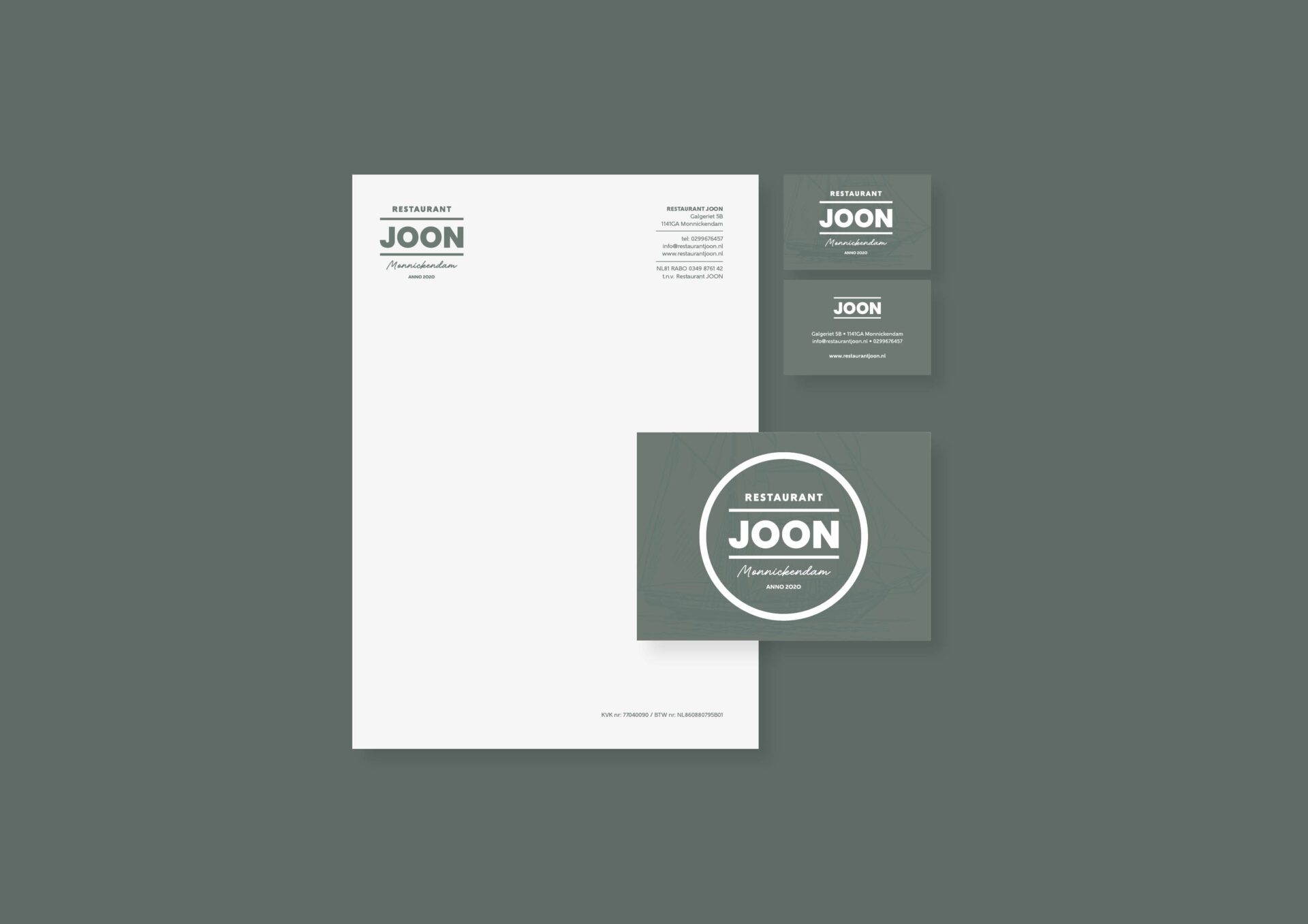 Visitekaartjes, briefpapier en cadeaukaarten voor Restaurant JOON in Monnickendam