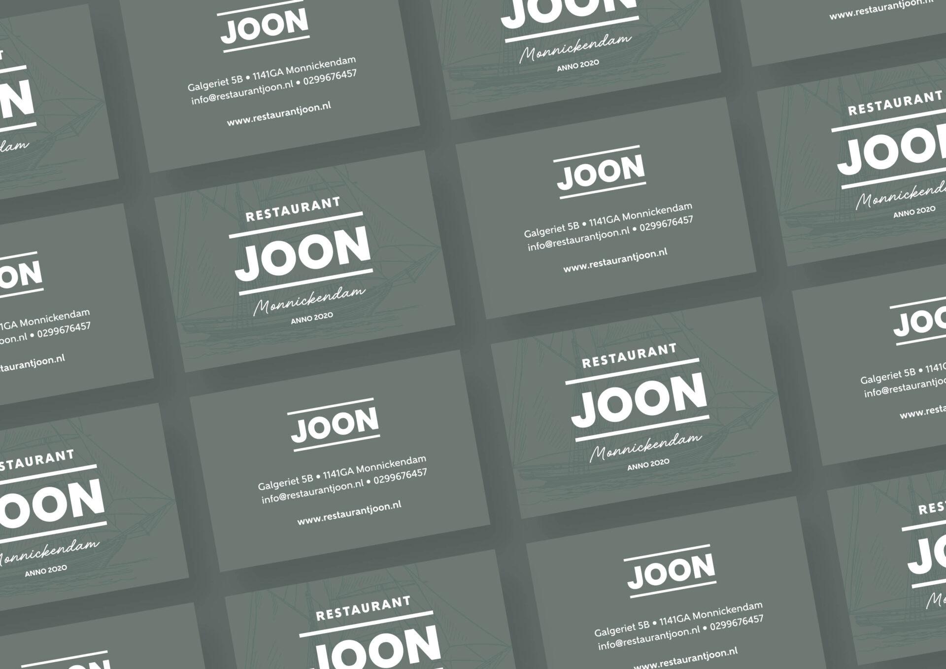 Visitekaartjes voor Restaurant JOON Monnickendam gemaakt door Sjoerd van Schagen
