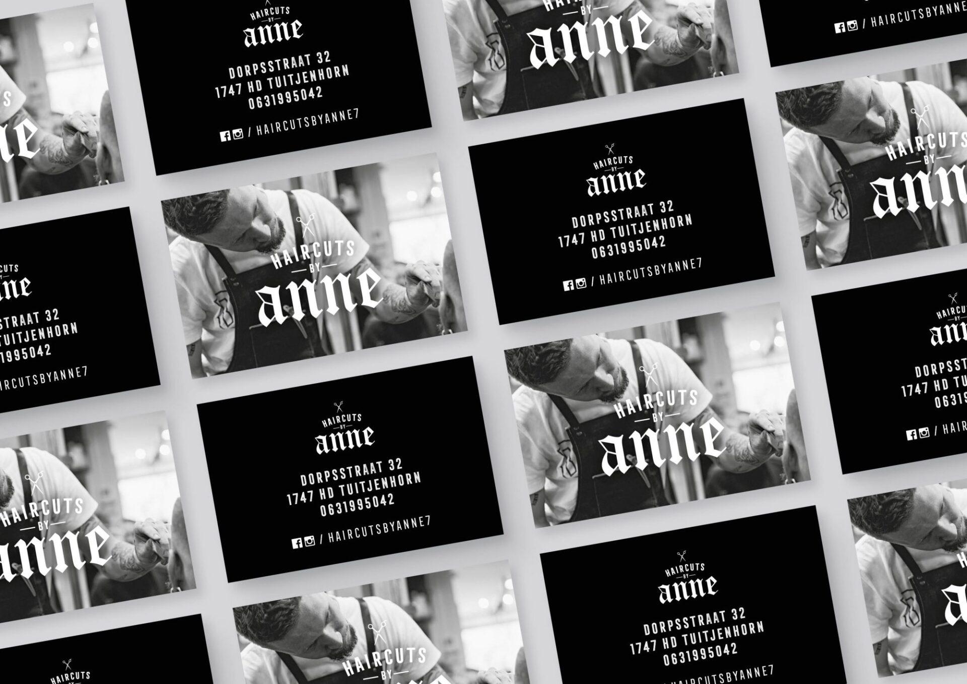 Visitekaartjes voor Anne Hink (Haircuts by Anne) gemaakt door Sjoerd van Schagen